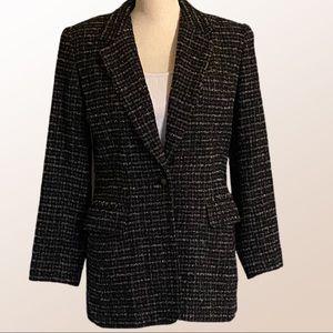LIZ CLAIBORNE tweed one button blazer.